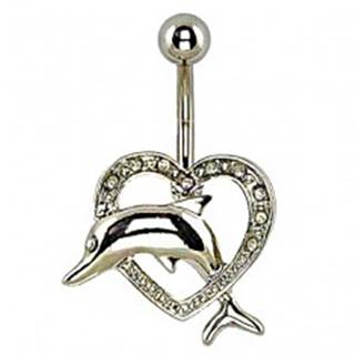Piercing do pupka - delfín skákajúci cez srdce