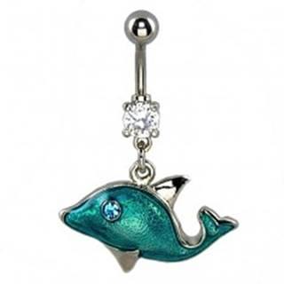 Piercing do pupka - modrý delfín, zirkónové oko