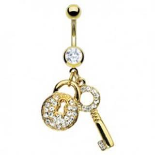Piercing do pupka zlatej farby - kľúč a zirkónová kladka