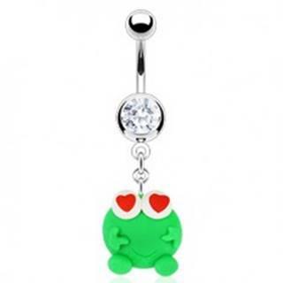 Piercing do pupku - zelená Fimo žabka, srdiečka