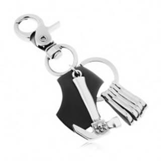 Prívesok na kľúče - matný tmavosivý povrch, čierna umelá koža s kladivom