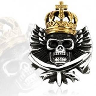Prívesok - oceľová lebka s kráľovskou korunou