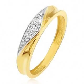Prsteň v žltom 14K zlate - obrúčka s vyhĺbeným stredom, zirkónový trojuholník - Veľkosť: 49 mm