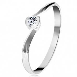 Prsteň z bieleho 14K zlata - číry diamant medzi zahnutými koncami ramien - Veľkosť: 49 mm