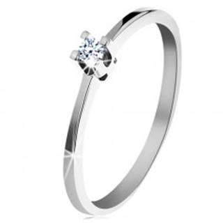 Prsteň z bieleho 14K zlata - tenké lesklé ramená, ligotavý číry diamant - Veľkosť: 50 mm
