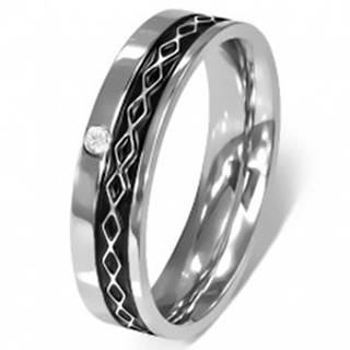 Prsteň z chirurgickej ocele - Keltský dizajn, číry zirkón - Veľkosť: 49 mm