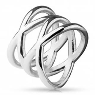 Prsteň z ocele 316L, lesklá strieborná farba, rozvetvené ramená - Veľkosť: 48 mm
