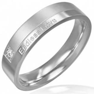 Prsteň z ocele - moderný dizajn, romantický nápis - Veľkosť: 51 mm