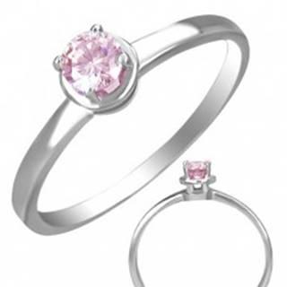 Prsteň z ocele so vsadeným ružovým očkom - Veľkosť: 49 mm