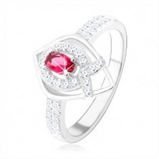 """Strieborný prsteň 925, obrys špicatej slzy, ružový zirkón, línia v tvare """"V"""" - Veľkosť: 50 mm"""