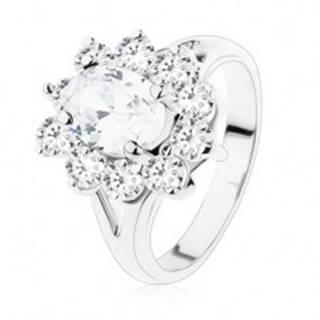 Trblietavý prsteň so striebornou farbou, rozdvojené ramená a číre zirkóny - Veľkosť: 49 mm