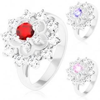 Trblietavý prsteň v striebornom odtieni, kontúra kvetu, okrúhle zirkóny - Veľkosť: 50 mm, Farba: Svetlofialová