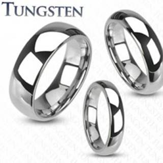 Wolfrámový prsteň - hladká lesklá obrúčka striebornej farby, 4 mm - Veľkosť: 49 mm