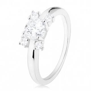 Zásnubný prsteň - striebro 925, úzke ramená, okrúhle zirkóny v čírom odtieni - Veľkosť: 49 mm