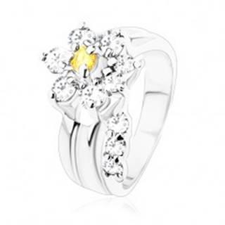 Žiarivý prsteň, oddelená zirkónová číra stonka, kvietok v žltej a čírej farbe - Veľkosť: 49 mm