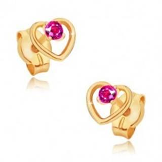 Zlaté náušnice 585 - obrys pravidelného srdca, okrúhly ružový rubín