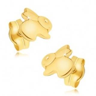 Zlaté náušnice 585 - zrkadlovolesklý skákajúci zajačik