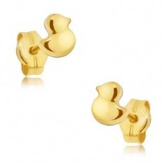 Zlaté puzetové náušnice 585 - maličké ligotavé kačičky