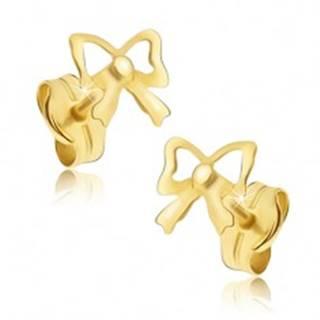 Zlaté puzetové náušnice 585 - zrkadlovolesklé mašličky