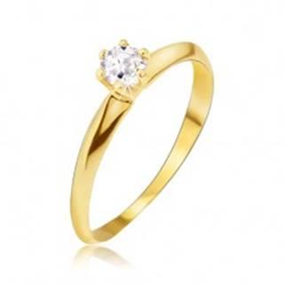 Zlatý prsteň 585 - lesklé hladké skosené ramená, číry kamienok - Veľkosť: 49 mm