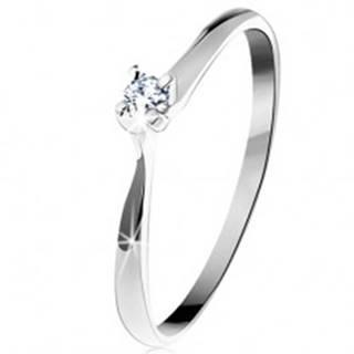 Zlatý prsteň 585 - trblietavý číry diamant v štvorcípom kotlíku, biele zlato - Veľkosť: 50 mm