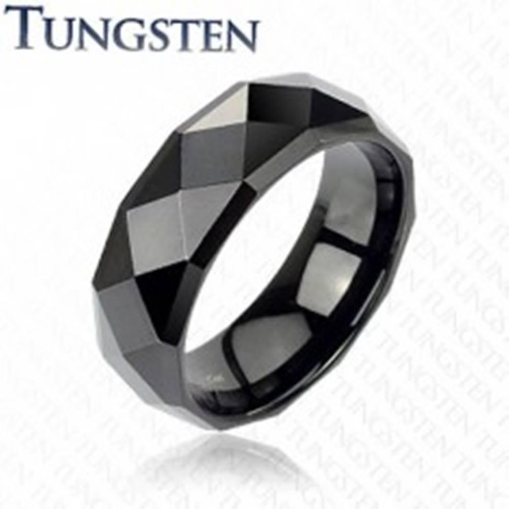 Šperky eshop Čierna obrúčka z wolfrámu s lesklým brúseným povrchom, 8 mm - Veľkosť: 49 mm