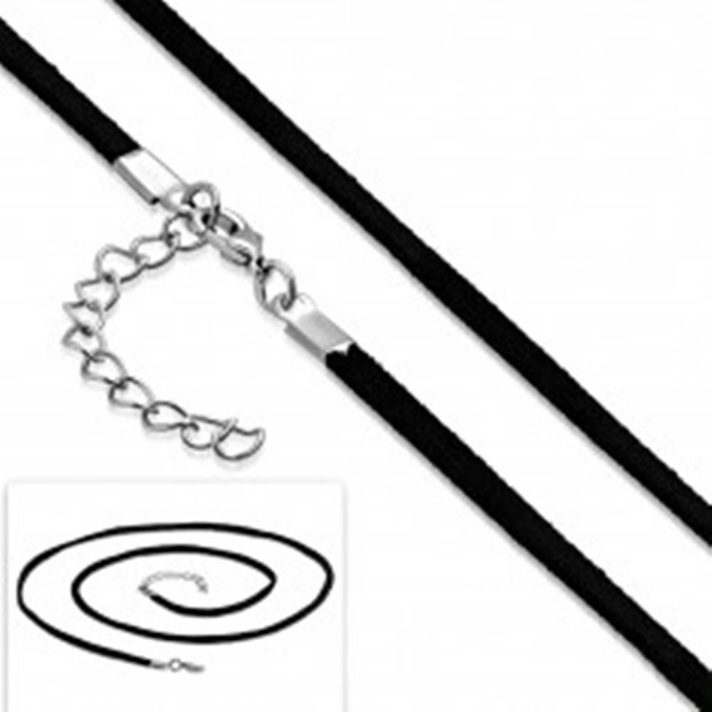 Šperky eshop Čierna šnúrka na prívesok, nastaviteľná dĺžka, karabínka