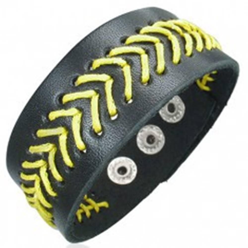 Šperky eshop Čierny kožený náramok - žltý prešívaný stromček