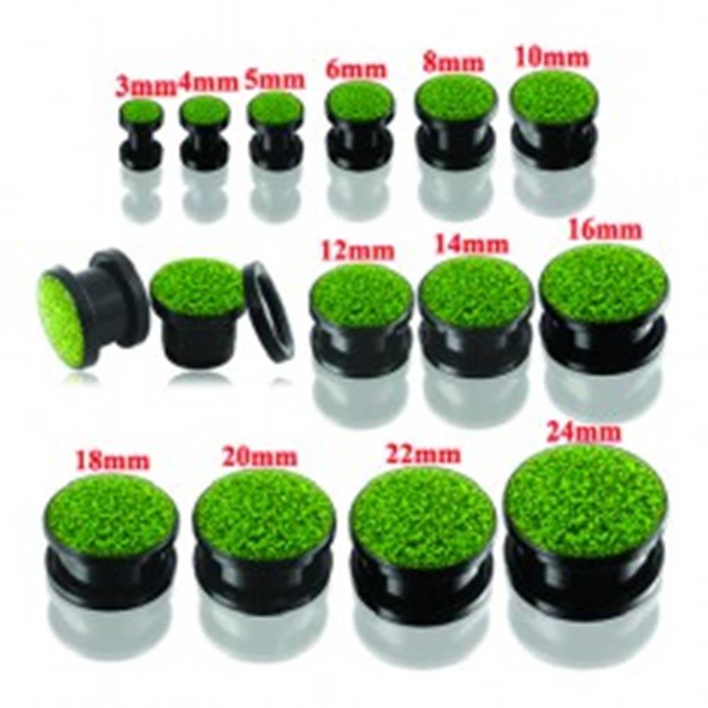 Šperky eshop Čierny okrúhly tunel plug do ucha so zelenými trblietkami - Hrúbka: 10 mm