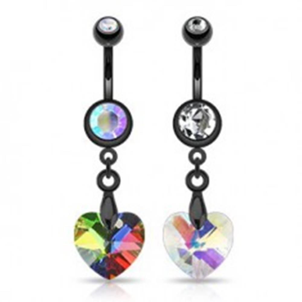 Šperky eshop Čierny piercing do pupka - dúhové srdiečko - Farba zirkónu: Číra - C