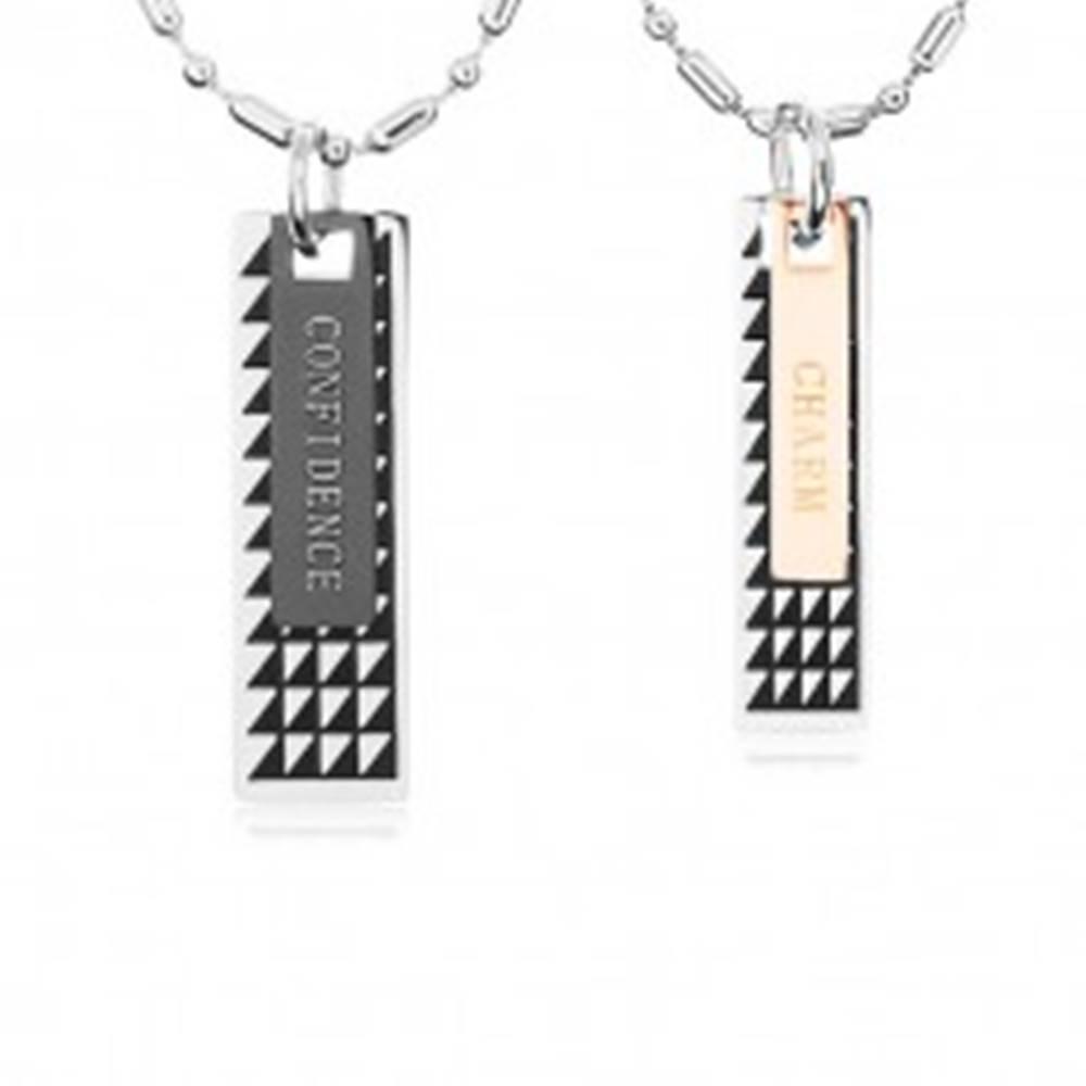 Šperky eshop Dva oceľové náhrdelníky, známky s čiernymi trojuholníkmi a nápismi