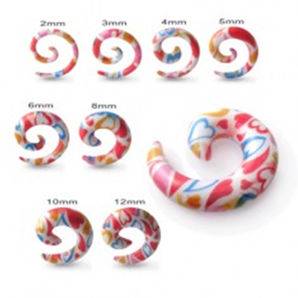 Šperky eshop Expander do ucha - biely slimák s farebnými srdciami - Hrúbka: 10 mm
