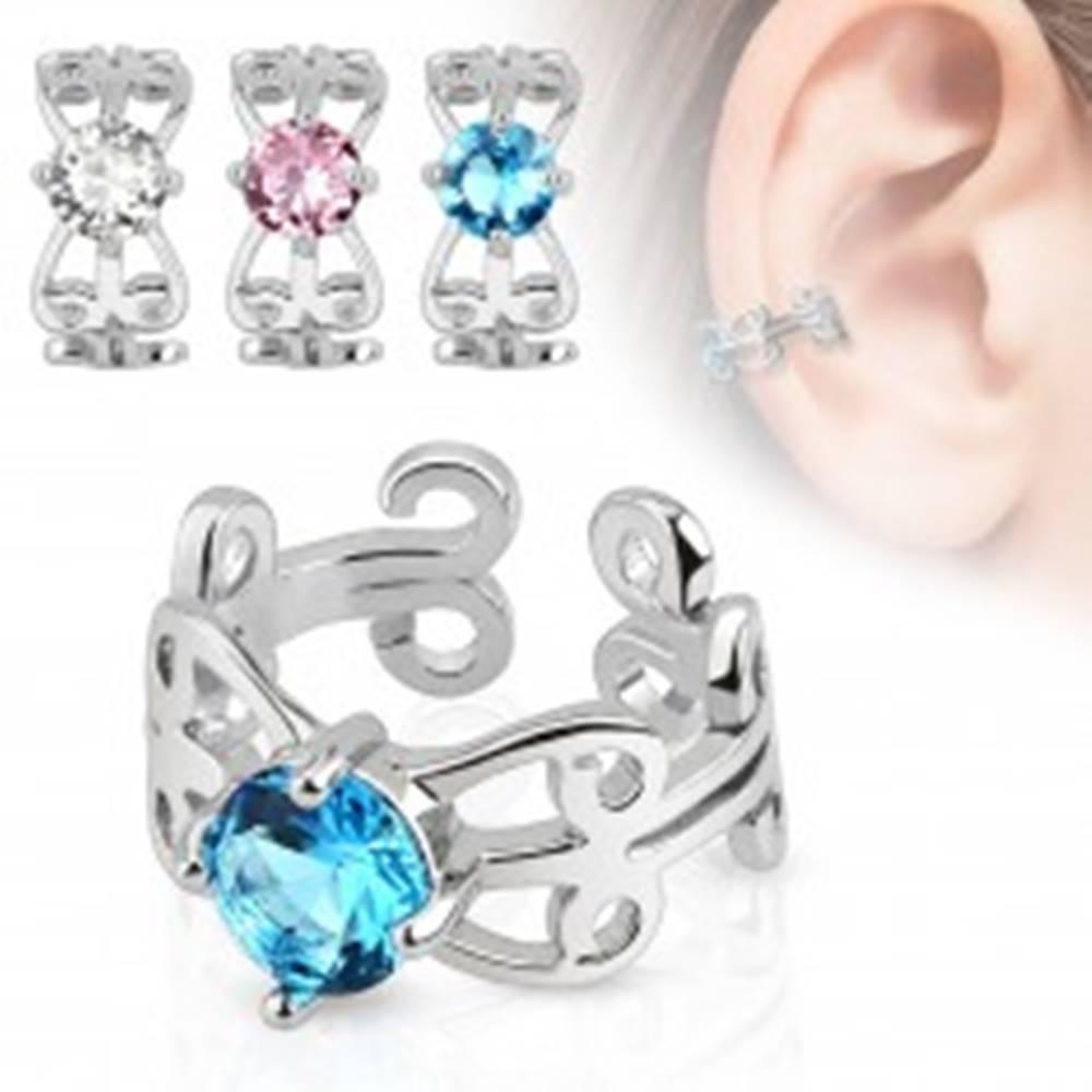 Šperky eshop Fake piercing do ucha s ródiovaným povrchom, ornamenty, zirkón - Farba zirkónu: Aqua modrá - Q