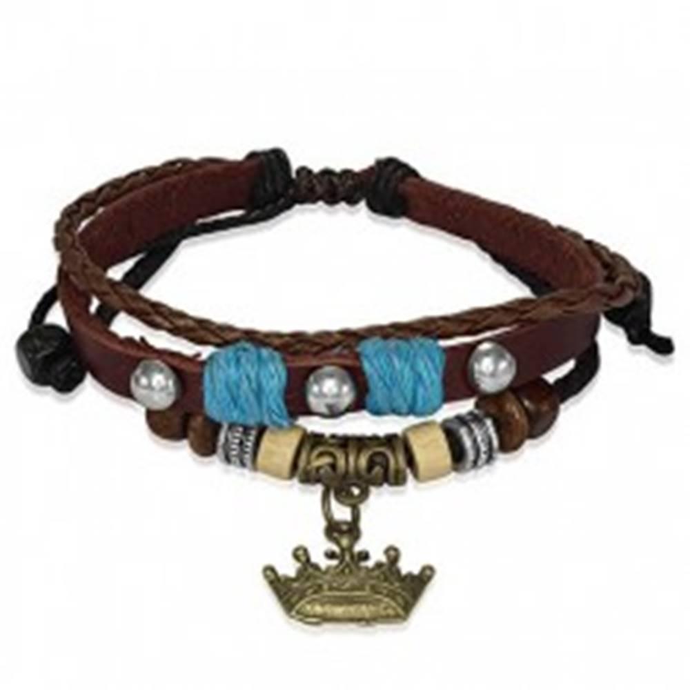 Šperky eshop Kožený náramok s drevenými korálkami, kráľovská koruna