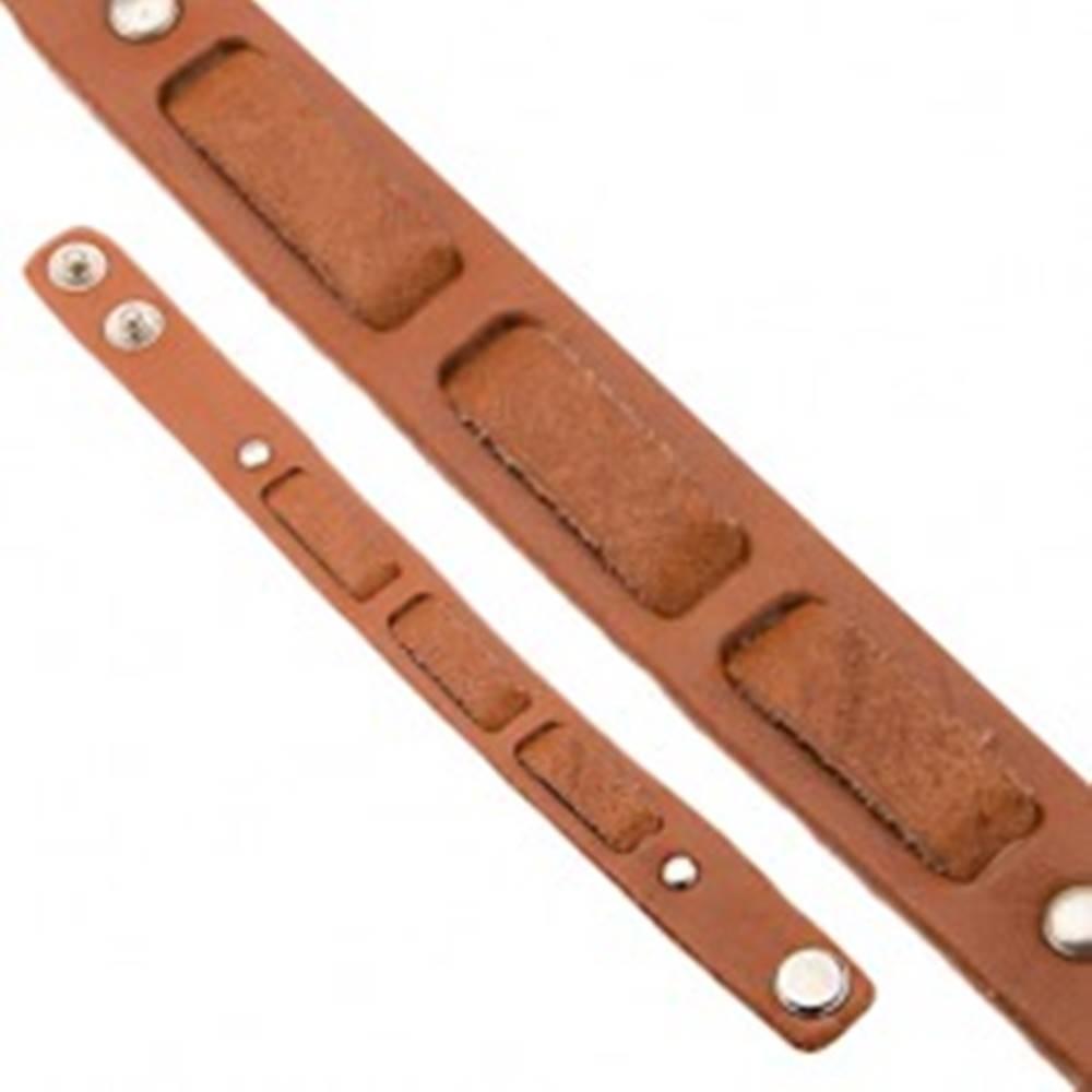 Šperky eshop Kožený škoricovohnedý náramok na ruku - prerušovaný pás
