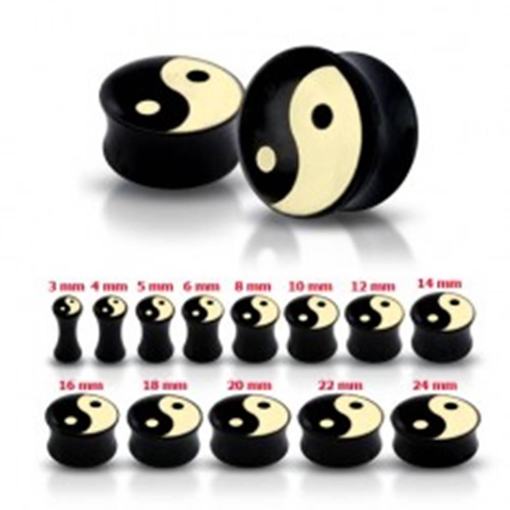 Šperky eshop Lesklý čierny plug do ucha so symbolom Jin a Jang - Hrúbka: 10 mm