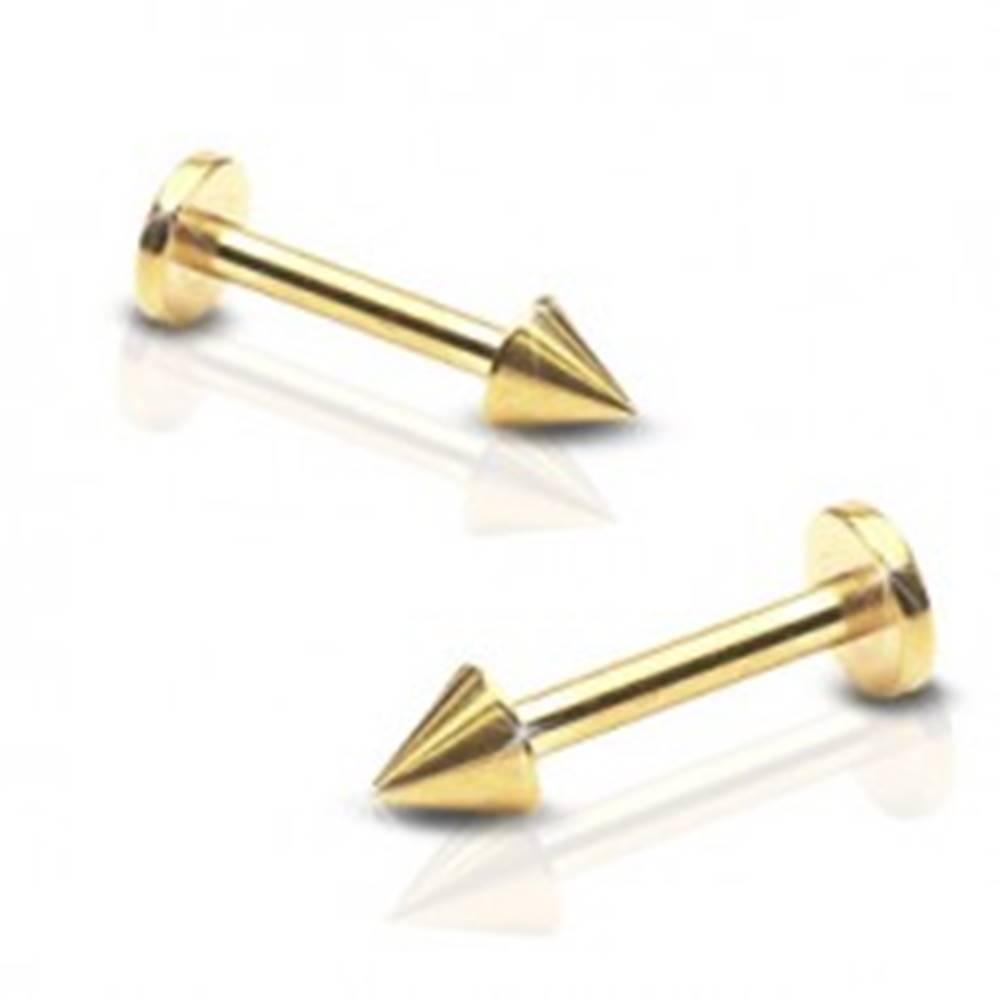 Šperky eshop Lesklý oceľový piercing do brady - labret s hrotom, zlatá farba - Rozmer: 1,2 mm x 8 mm