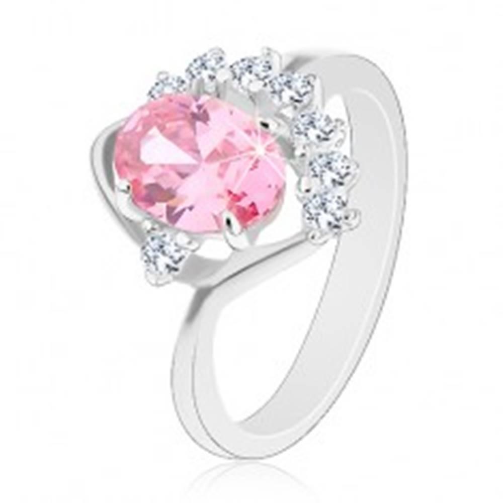 Šperky eshop Lesklý prsteň so zahnutým ramenom, ružový ovál, zirkónový číry oblúk, oblúčik - Veľkosť: 49 mm