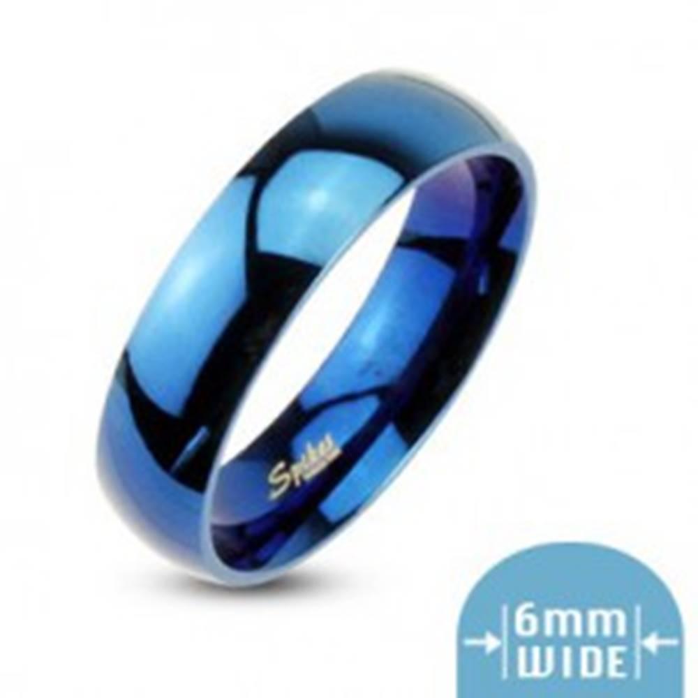 Šperky eshop Modrá obrúčka s vysokým leskom - Veľkosť: 49 mm