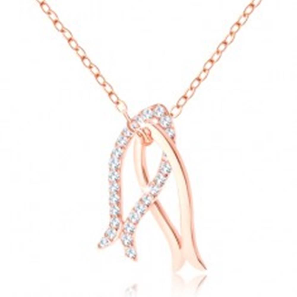 Šperky eshop Náhrdelník medenej farby, striebro 925, lesklá a zirkónová kontúra rybky