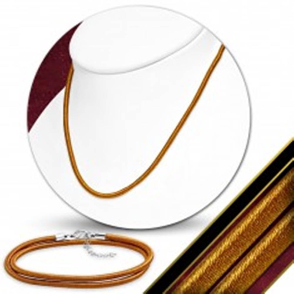 Šperky eshop Náhrdelník obtočený lesklou niťou tehlovo oranžovej farby, karabínka