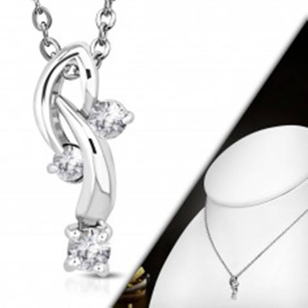 Šperky eshop Náhrdelník s príveskom - tri číre zirkóny na zahnutých stopkách