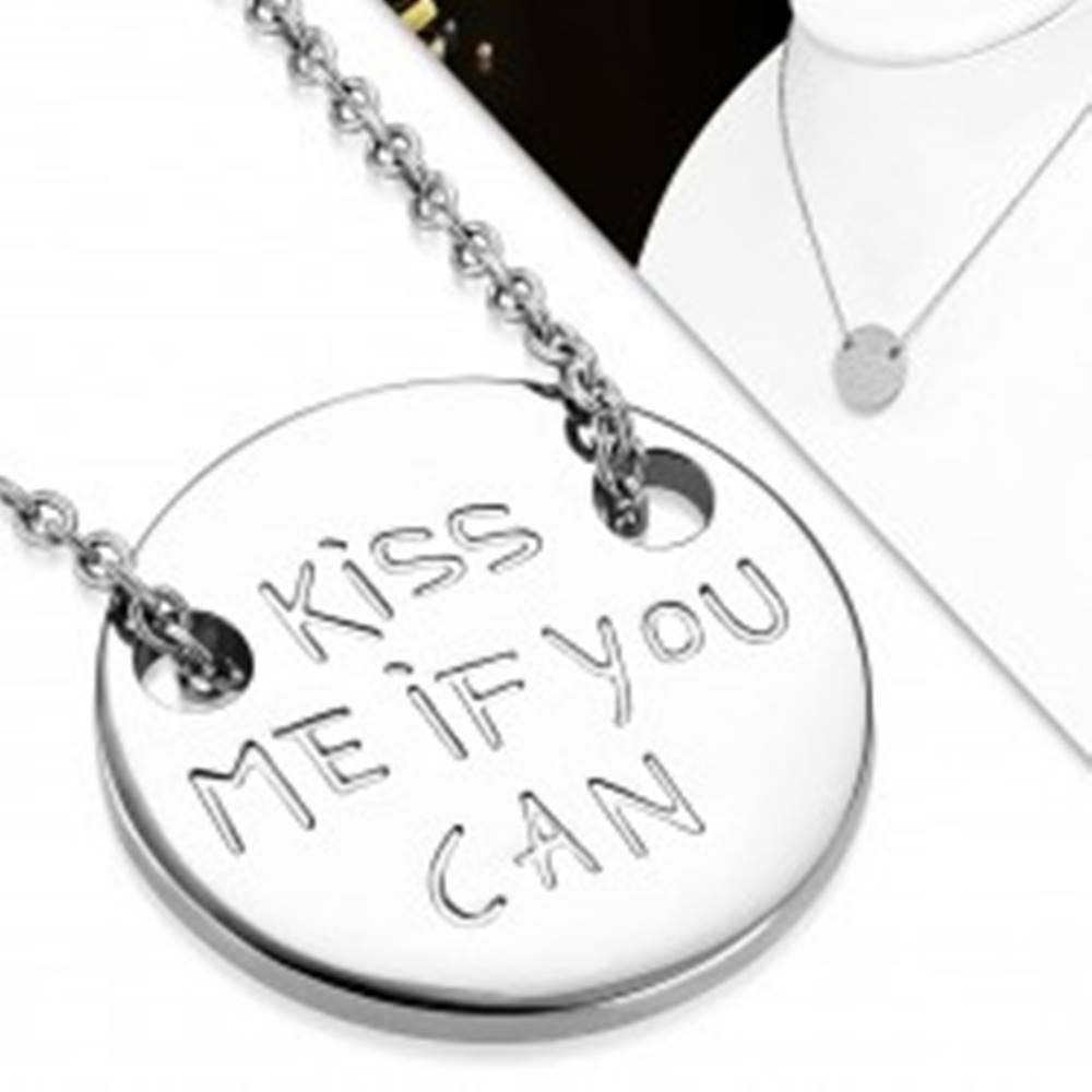 Šperky eshop Náhrdelník z chirurgickej ocele, retiazka a okrúhly prívesok s nápisom