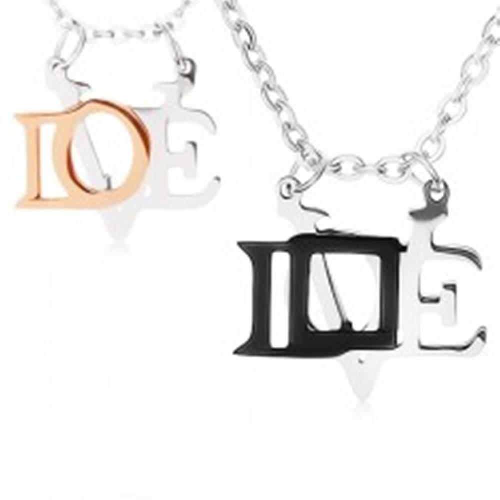 """Šperky eshop Náhrdelníky z ocele 316L pre zamilovanú dvojicu, lesklé prívesky """"LOVE"""""""