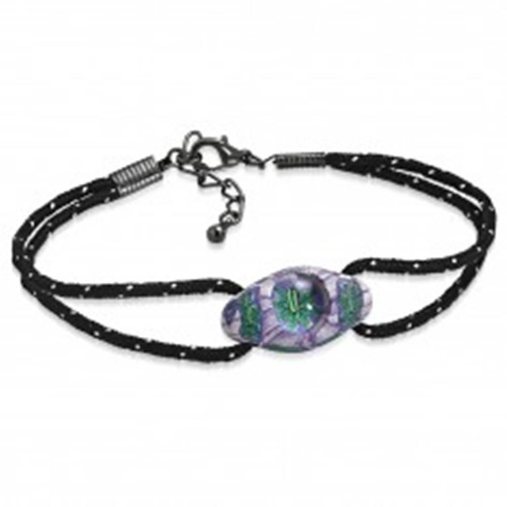 Šperky eshop Náramok z čiernych šnúrok a oválnej FIMO korálky, fialovo-zelené kvety - Dĺžka: 180 mm