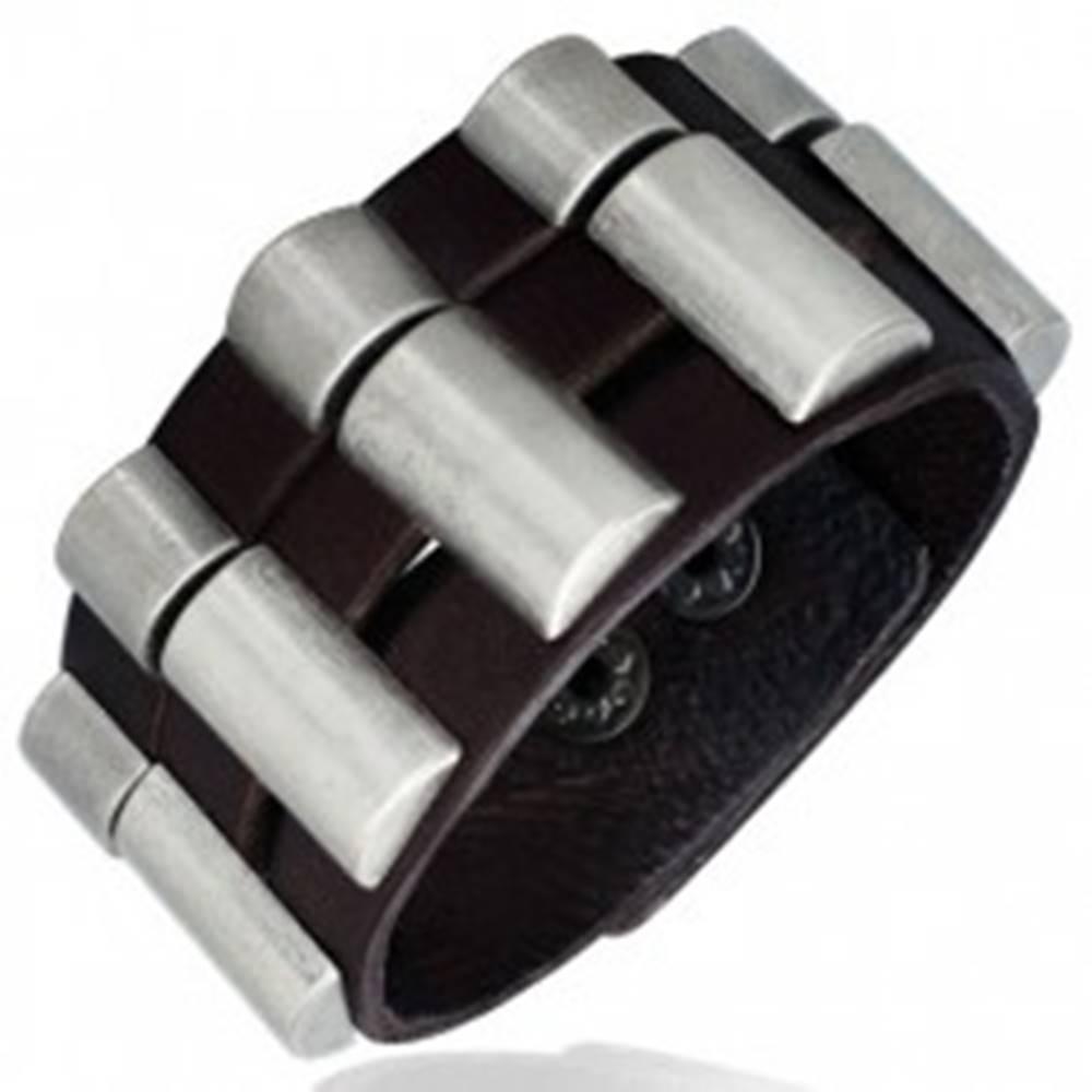 Šperky eshop Náramok z kože - trojdielny, zaoblené kovové diely