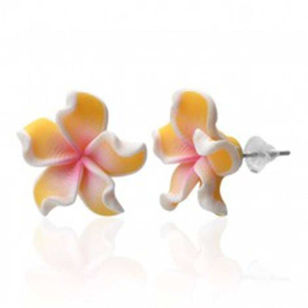 Šperky eshop Náušnice Fimo - Plumeria, žlté zvlnené lupienky