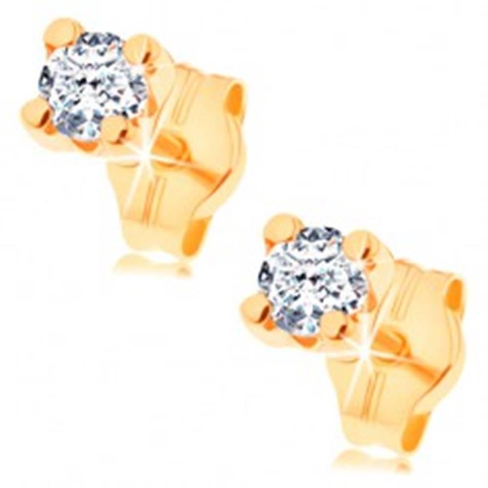 Šperky eshop Náušnice v žltom 14K zlate - číry okrúhly zirkón v hranatom kotlíku, 3 mm