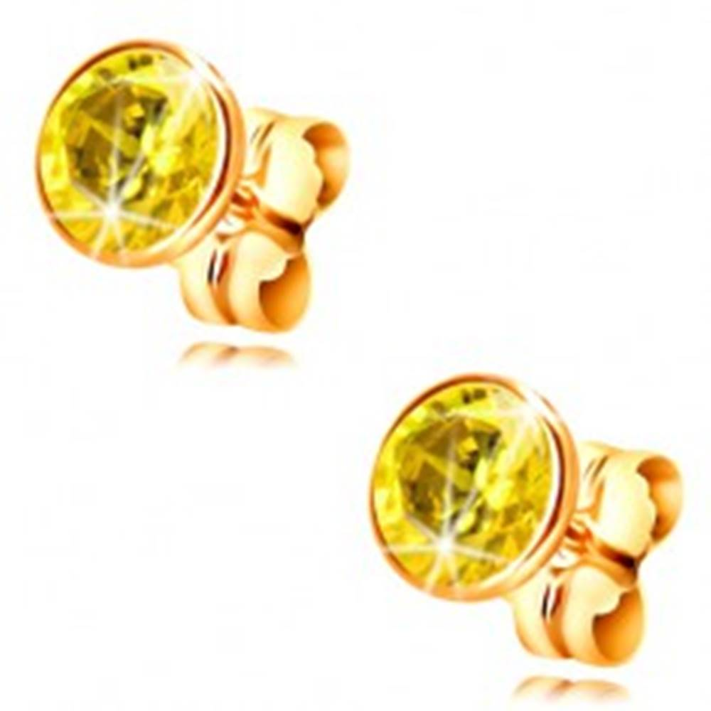Šperky eshop Náušnice v žltom 14K zlate - objímka so žltým okrúhlym zirkónom, 5 mm