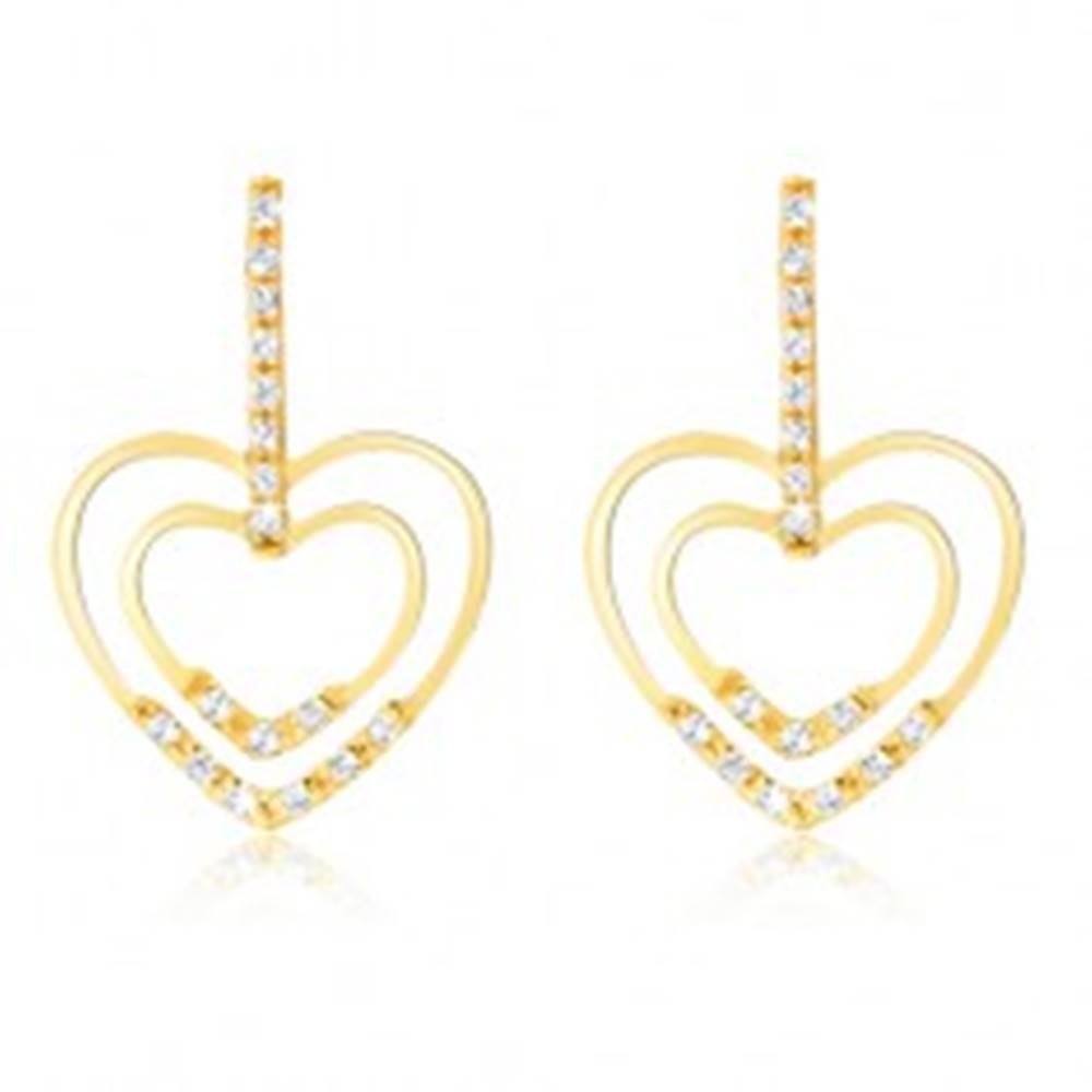 Šperky eshop Náušnice v žltom 14K zlate - pruh zirkónov, lesklé obrysy sŕdc, kamienky